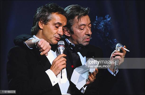 The 5th 'Victoires de la musique' awards ceremony in Paris France in March 1990 Serge Gainsbourg and Michel Sardou
