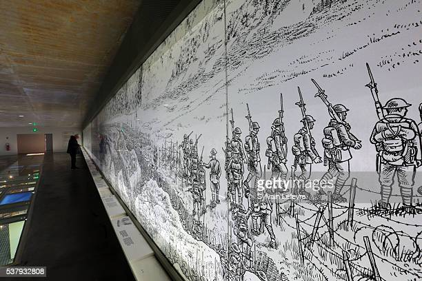 The 60 meters long Joe Sacco fresco, presenting the first day of the battle of the Somme in the new WW1 Thiepval Visitor and Interpretation museum...