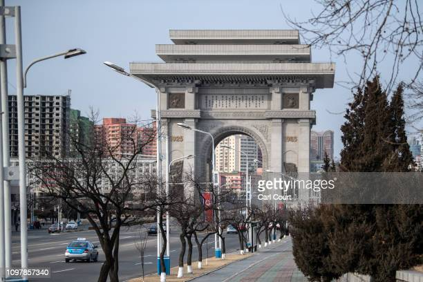 The 60 metre high Arch of Triumph is pictured on February 08 2019 in Pyongyang North Korea US President Donald Trump and North Korean Supreme Leader...