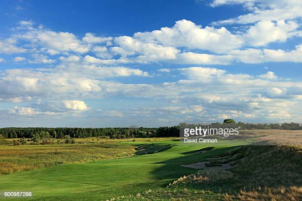 The 608 yards par 5, first hole at Erin Hills Golf Course the venue for the 2017 US Open Championship on August 31, 2016 in Erin, Wisconsin.