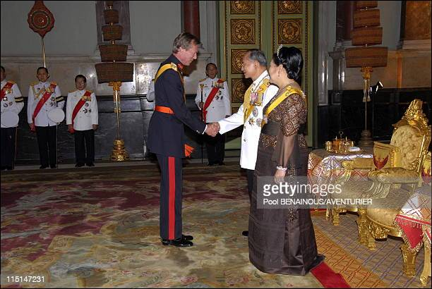 The 60th anniversary celebrations of King Bhumibol in Bangkok Thailand on June 13 2006 Royal banquet in honor of the foreign monarchs Grand Duke...