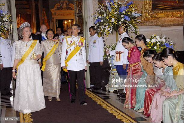 The 60th anniversary celebrations of King Bhumibol in Bangkok Thailand on June 13 2006 Royal banquet in honor of the foreign monarchs Queen Sofia of...