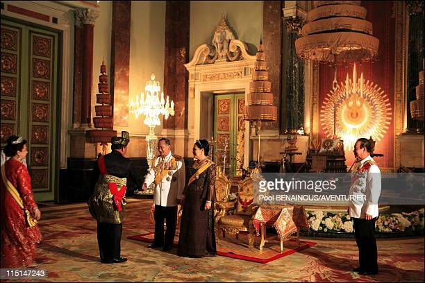 The 60th anniversary celebrations of King Bhumibol in Bangkok Thailand on June 13 2006 Royal banquet in honor of the foreign monarchs Thai King...