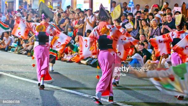 the 61st tokyo koenji awaodori dance festival (2017) - awa dance festival stock photos and pictures