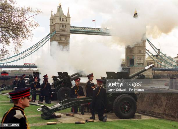 The 62 Gun Royal Salute fired by the Honourable Artillery Company in honour of the Queen's 73rd birthday near London's Tower Bridge The Queen is...