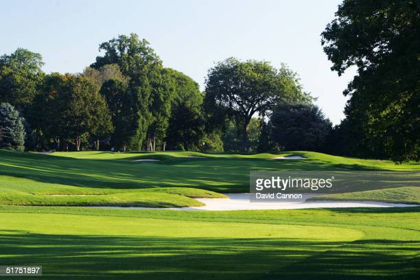 The 647 yard par 5 17th hole on the Lower Course at Baltusrol Golf Club venue for the 2005 USPGA Championship, on September 24, 2004 in Springfield,...