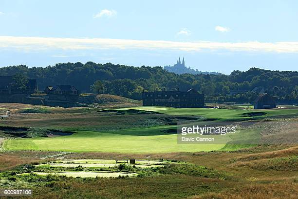 The 663 yards par 5 18th hole at Erin Hills Golf Course the venue for the 2017 US Open Championship on September 1 2016 in Erin Wisconsin