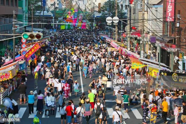 the 67th shonan hiratsuka tanabata festival - street fair stock photos and pictures