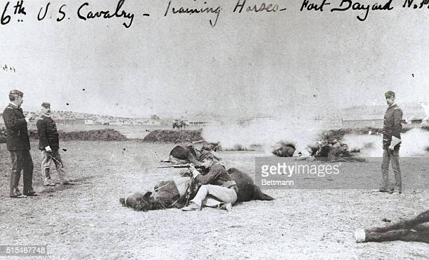 The 6th Cavalry trains their horses at Fort Bayard New Mexico