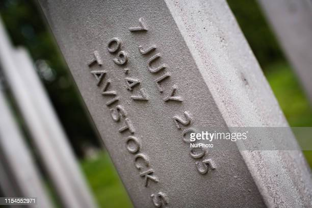 The 7 July Memorial pictured 14 years to the day after the 7/7 bombings stands in Hyde Park in London England on July 7 2019 Fiftytwo people were...