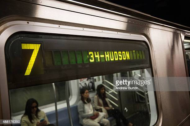 The 7 train departs for a new subway station on September 14 2015 in New York City Known as '34th Street Hudson Yards' it is accessed by the 7 train...