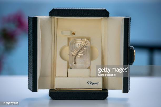 The 72nd edition of the Palme d'Or du CourtMetrage trophy is pictured during the Cannes Film Festival at the Chopard Jewellery House Suite during the...