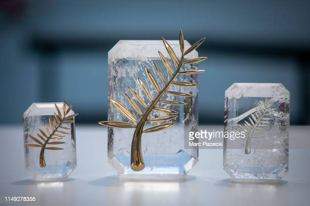 The 72nd editions of the Palme d'Or du CourtMetrage the Palme d'Or and the Prix d'interpretation Feminine trophies are pictured during the Cannes...