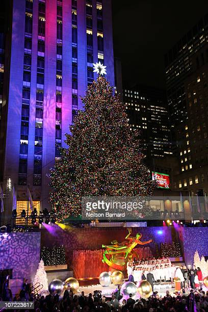 The 74foot Norway Spruce dressed with 30000 energy efficient led lights is on display at the Rockefeller Center Christmas tree lighting at...