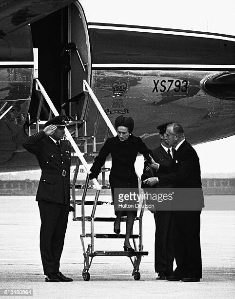 The 75 year old Duchess Of Windsor steps down from the plane on her arrival at Heathrow airport for the funeral of her late husband Edward Duke of...