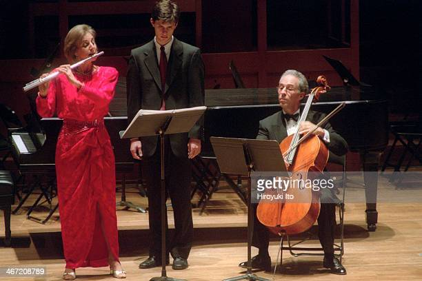 """""""The 75th Anniversary of the Walter W. Naumburg Foundation"""" at Alice Tully Hall on Thursday night, December 13, 2001.This image:Carol Wincenc, the..."""