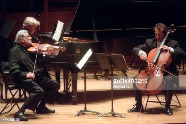 """""""The 75th Anniversary of the Walter W. Naumburg Foundation"""" at Alice Tully Hall on Thursday night, December 13, 2001.This image:From left, Robert..."""