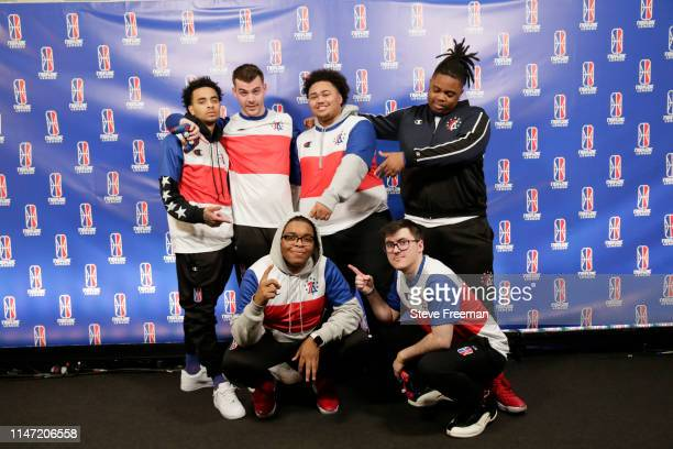 The 76ers Gaming Club poses for a photo following the match against Mavs Gaming during Week 7 of the NBA 2K League regular season on May 31 2019 at...