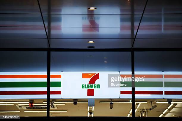 The 7Eleven logo is displayed inside a convenience store operated by Seven i Holdings Co in Kawasaki City Kanagawa Prefecture Japan on Tuesday April...