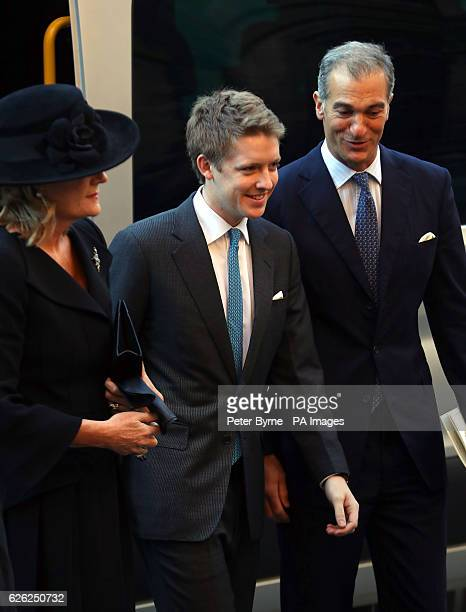 The 7th Duke of Westminster Hugh Grosvenor arriving for a memorial service to celebrate the life of his father the sixth Duke of Westminster at...