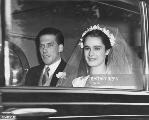 The 7th Earl of Harewood and pianist Marion Stein, now the Countess of Harewood arrive at St James' Palace in London for their wedding reception,...