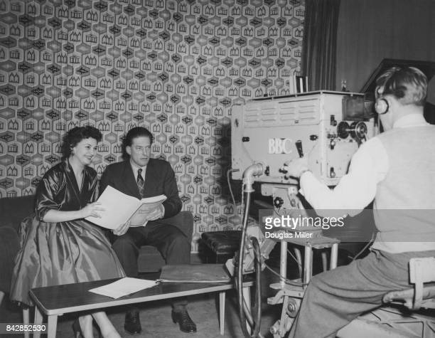 The 7th Earl of Harewood filming the BBC television programme 'Panorama' with opera singer Adele Leigh at Lime Grove studios London 26th January 1955...