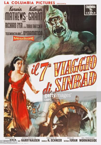 The 7th Voyage Of Sinbad poster bottom from left Kathryn Grant Kerwin Mathews on Italian poster art 1958