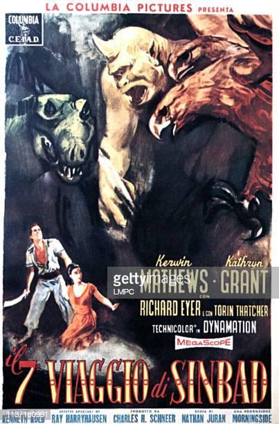 The 7th Voyage Of Sinbad poster Kerwin Mathews Kathryn Grant Italian poster art 1958