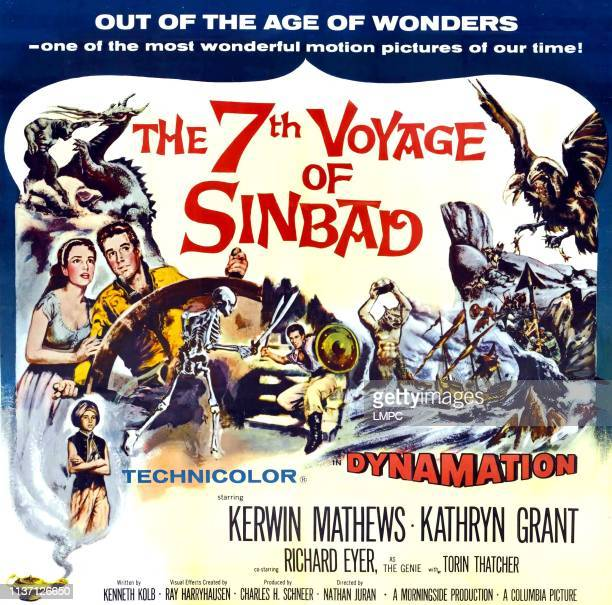 The 7th Voyage Of Sinbad poster top left from left Kathryn Grant Kerwin Mathews bottom left Richard Eyer on '6sheet' style poster 1958