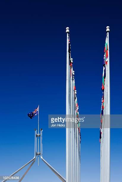 The 81m-high flag pole on Parliament House.