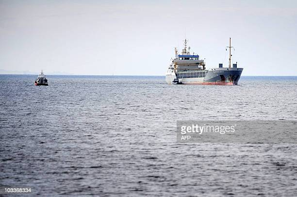The 85-meter Dutch vessel Flinterforest is seen on the Oresund strait near Larod north of Helsingborg, Sweden, on August 13, 2010 after it ran...