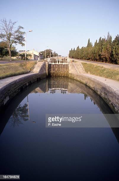 the 9 locks (Fonseranes) major work on the Canal d