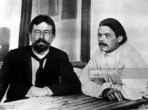 1901 The 90th anniversary of the birth of Russian writer Maxim Gorky pictured with fellow Russian writer Anton Chekov in Yalta Russia