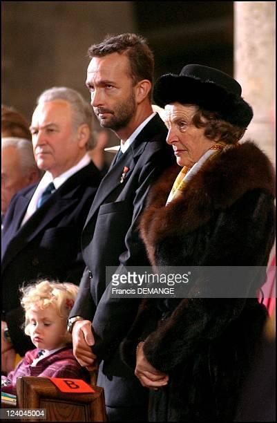 The 90th Birthday of Otto von Habsburg in Vienna, Austria on November 20, 2002 - During mass Archduchess Regina and son Karl with his daughter