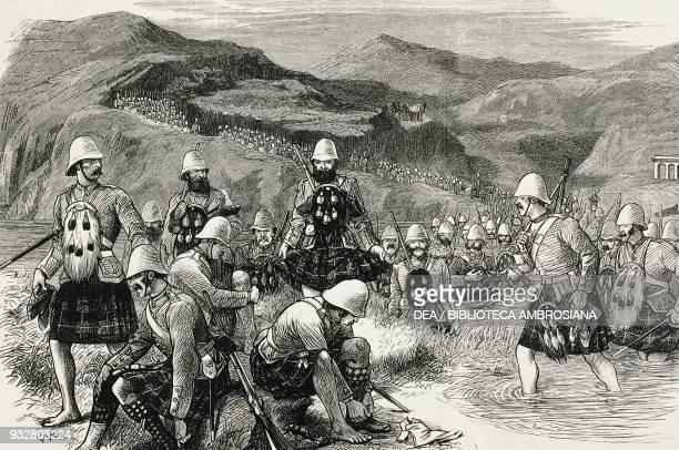 The 92nd Highlanders crossing the Sahahn river Second AngloAfghan War illustration from the magazine The Graphic volume XIX no 489 April 12 1879