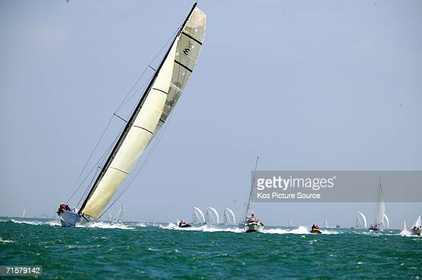 The 98ft canting keel yacht Maximus coowned and helmed by Charles St Clair Brown breaking the Round the Isle of Wight monohull sailing record with a...