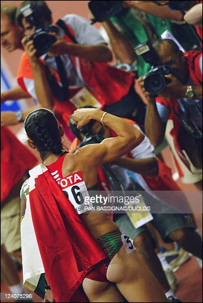 The 9th Athletics World Championship In Paris France On August 27 2003 Ana Guevara reacts after crossing the line to win the gold medal in the...