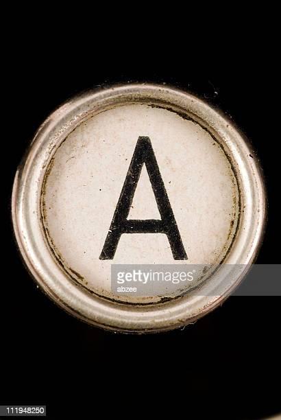 The A key of full alphabet from grungey typewriter