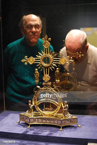 The a silvergilt cross Monstrance commissioned c1460 by the future Luis XI and given to the SintMartinus Basilica in Halle is shown during a member...