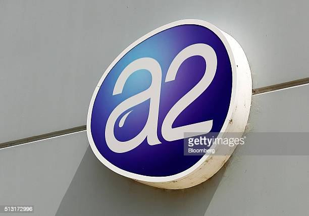 The a2 Milk Co logo is displayed at the company's plant in Sydney Australia on Friday Feb 26 2016 Founded in 2000 by New Zealand scientist Corran...