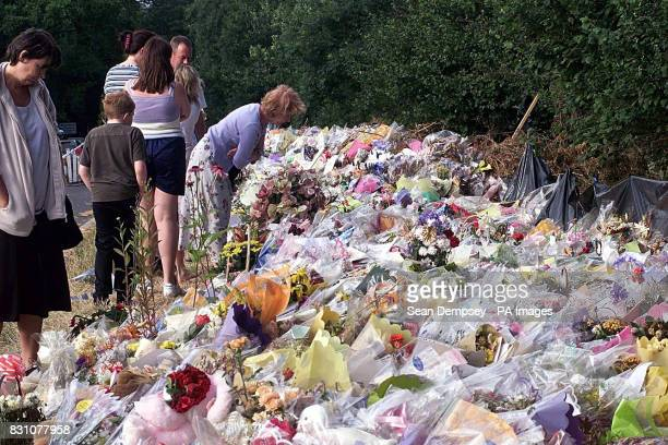 The A29 road side in Pulborough West Sussex covered in tributes for the eightyearold murdered school girl Sarah Payne The overwhelming public display...
