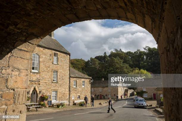 The A6306 road passing the Lord Crewe Arms Hotel in the Northumbrian village of Blanchland on 29th September 2017 in Blanchland Northumberland...