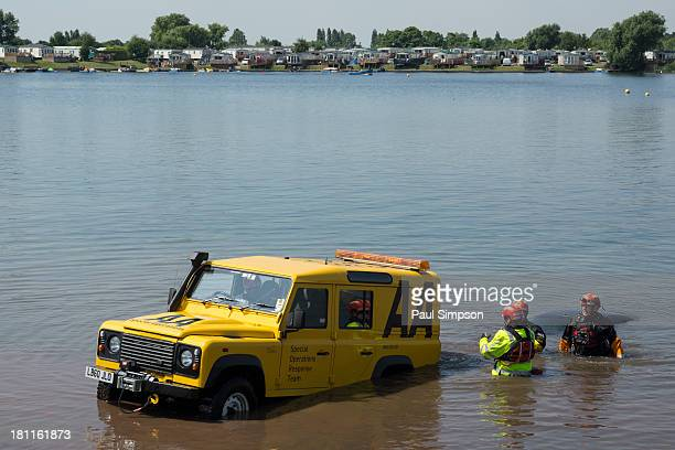The AA demonstrate how to pull a submerged car from a watery grave at the 2013 Rescue Day event near to Scunthorpe on