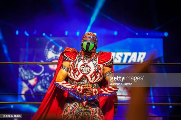 The AAA wrestler Aerostar performs during an AAA World Wide Wrestling match on November 16 2018 in Bogota Colombia