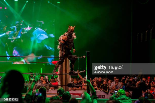 The AAA wrestler Drago performs during an AAA World Wide Wrestling match on November 16 2018 in Bogota Colombia