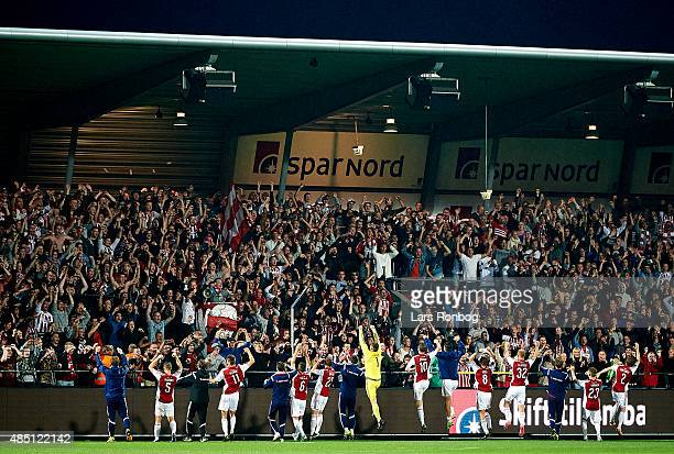 The AaB Aalborg players celebrate with the fans after the Danish Alka Superliga match between AaB Aalborg and OB Odense at Nordjyske Arena on August...