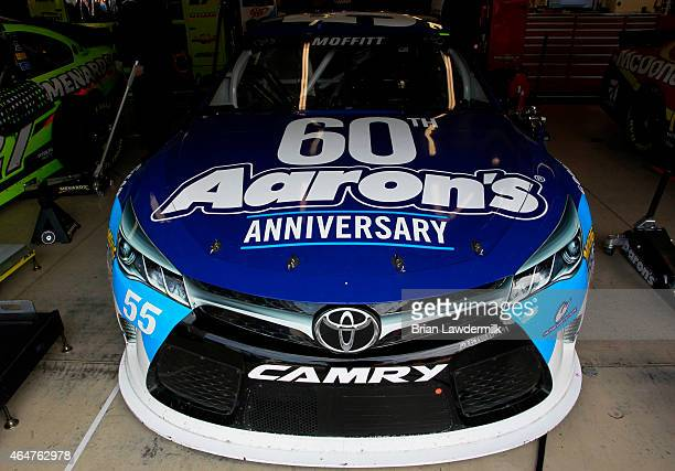 The Aaron's 60th Anniversary Dream Machine Toyota is parked in the garage during practice for the NASCAR Sprint Cup Series Folds of Honor QuikTrip...