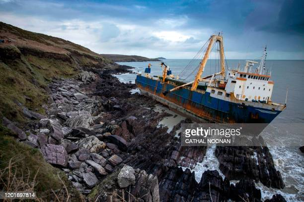 The abandoned 77-metre cargo ship MV Alta is pictured stuck on rocks near the village of Ballycotton south-east of Cork in Southern Ireland on...