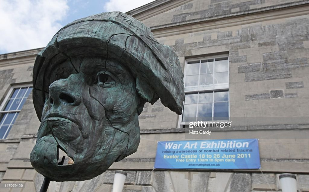 'The Abandoned Soldier', a commemorative sculpture created to honour those who have fought for Britain greets visitors outside Exeter Castle on June 21, 2011 in Exeter, England. The paintings are among artworks produced by former and current servicemen and women currently being exhibited at Exeter Castle. The free exhibition, Entrance to War Art, aims to foster understanding between Post Traumatic Stress Disorder (PTSD) sufferers and the wider community and runs until Sunday.