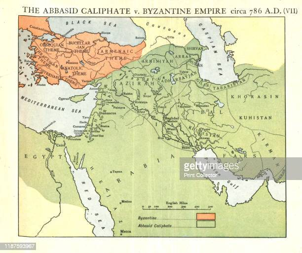 The Abbasid Caliphate v Byzantine Empire circa 786 AD' circa 1915 Map of civilisations in the Middle East during the 8th century and also showing the...